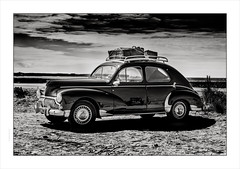 Peugot 203 Rally, Quiberon, Brittany (Gary Rowlands) Tags: leica s france brittany sea water sky atlantic ocean sunset reflections road atlantique vintage car quiberon peugot203 hasselbladlens 110mm f20 110mmfe