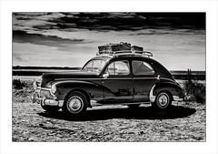 Peugeot 203 Rally, Quiberon, Brittany (Gary Rowlands) Tags: leica s france brittany sea water sky atlantic ocean sunset reflections road atlantique vintage car quiberon peugot203 hasselbladlens 110mm f20 110mmfe peugot roofrack blackandwhite bokeh sunshine dof