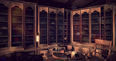 A Forgotten Library (chrisrallier) Tags: story play role roleplay rallier christine midgar vintage furniture mesh life second sl secondlife bookshelf books