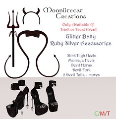 Glitter Batty Ruby Silver Accessories Ad Pic (moonlitecat) Tags: moonlitecat creations timeless textures limited edition rigged mesh horns trident devil tail demon slink maitreya high heels highheels