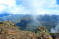 View from Mount Whistler (dhussels) Tags: jasperskytram jasper rockies rockymountains mountainview berg berge mtwhistler rainbow regenbogen tal fluss wolken clouds mountainweather
