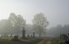 (amy20079) Tags: graveyard cemetary maine newengland fog autumn nikond5100 moody morning october path road