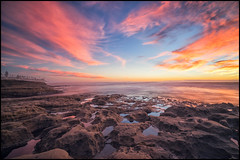 Fire in the Sky (Roving Vagabond) Tags: lajolla california socal san diego hospital reef sunset ocean sea rock color water reflection seascape la jolla serene landscape outdoor cloud sky dusk explore