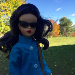 Secret Agent Sabrina (Foxy Belle) Tags: tammy doll vintage ideal liv wig coat fall autumn outside nature sunglasses