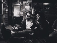 (julieannesjones) Tags: 32st 31 oct photography iphonegraphy unaware spy caught creepy random spontaneous festivities fall maryland crofton pub irish molloys baltimore contrast white black bw blackandwhite close deranged spooky dark strange instagram mobile edit editor 6s iphone party contest beer mixed life night happy love couple drunk drank drink drinking bar beetlejuice costume october halloween