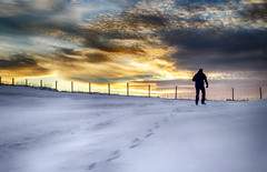Over the Sunrise (Danny VB) Tags: sunrise winter walking fence silhouette hiver man cliff clouds sun snow atlantic ocean percé gaspésie quebec canada canon 6d ef50mmf18ii canoneos6d canon6d 50mm18 photo photography dannyboy newyear overthesunrise