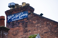 Toys and fancy Goods (104of365) (Reckless Times) Tags: toys toy fancy goods fireworks blue sign signage old vintage cool look up brick oxford chimney nikon d750 project 365