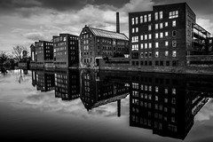 balck and white reflections of warehouse apartments in Deventer Overijssel (Bart Ros) Tags: apartments warehouse building reflection deventer overijssel urban architecture windows sky travel black white cloud dutch holland fuji