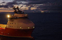 24/7 Operations ([ Jaso ]) Tags: boat offshore oilandgas ship supplyship bluehour sony rx100 sea sunset afterdark oilrig seascape dark moody