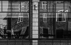a house like pizza dough - HWW! (lunaryuna) Tags: house brick architecture weird reflections distortions piccolino funny perception blackwhite bw lunaryuna york praiseandcurseofthecity