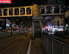 """coming home"" (hugo poon - one day in my life) Tags: xt2 23mmf2 hongkong northpoint kingsroad tram citynight home footbridge solitude vanishing lights sign"