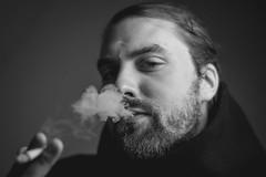 T II (Zesk MF) Tags: bw black white smoker raucher rauchen zigarette cool lord fume rauch man mann bart beard close portrait sigma 14 50mm nikon d5500 edel fingers bud