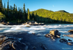 Crescent Moon over Wild River (Wild Nature.Photography) Tags: canada crescentmoon moon whitewater rapids nature trees sunshine wild wilderness water pristine rocks riviremagpie quebec river
