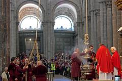 Pilgrim's Mass (TheCatholicMuse) Tags: trekking walking catholic christ camino churches cathedrals backpacking catholicchurch pilgrimage pilgrim caminodesantiago peregrino thurifer
