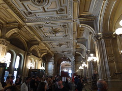 Waiting in the English language section for the Vienna Opera House tour to begin