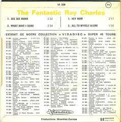 Charles, Ray - The Fantastic Ray Charles - EP - F - 1972 (Affendaddy) Tags: france 1972 whathaveidone raycharles heynow seeseerider rbmusic vinylsingles collectionklaushiltscher vinyleps alltomyselfalone visadisc vi329
