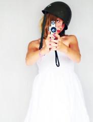 aim (Fagerbacka) Tags: film girl dress cam helmet shooting aiming