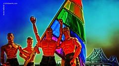 SOMEWHERE OVER THE RAINBOW, MONTREAL (Bruno LaLibert) Tags: city bridge gay texture photoshop toys montreal flag fujifilm gaypride jacquescartierbridge 2013 skeletalmess brunolalibert