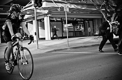 Bike Crossing Road (Vincent Albanese) Tags: street people bw nikon bikes australia canberra nikkor35mm d7000 nikond7000