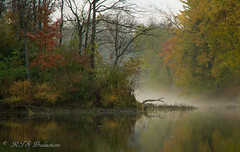 Beautiful Missouri Morning (Rick Smotherman) Tags: morning autumn sky mist tree fall water fog clouds sunrise canon landscape dawn pond october cloudy overcast 7d cloudysky buschwildlife canon7d canon1585mmlens