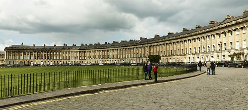 Royal Crescent Bath under a threatening sky