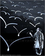 Katya's Dream #1 (mimeman) Tags: birds theater performance dream montage awe mime flockofbirds femalemime