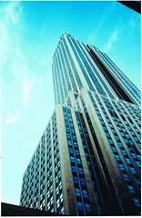 Empire State Building (The Adamant Wanderer) Tags: newyorkcity newyork film 35mm manhattan olympus esb empirestatebuilding mjuii 5thave skyscrapper