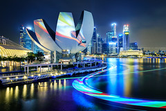 Colour Swathe (Scintt) Tags: show city travel light sky art tourism skyline museum architecture night clouds marina buildings evening bay boat hall office singapore long exposure glow cityscape colours slow place display vibrant district central trails science structure business shutter sands financial mbs raffles raimbow scintillation scintt