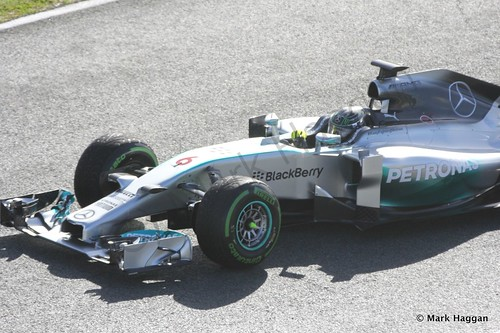 Nico Rosberg in his Mercedes at Formula One Winter Testing 2014