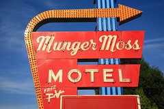 Route 66 - Munger Moss Motel (Frank Footer Fotos) Tags: road trip travel blue trees vacation sky usa west art classic wheel sign wall clouds america vintage wagon marquee photography freedom hotel town midwest neon framed lodging small cuba fine mother murals motel places roadtrip 66 historic retro mo adventure business route nostalgia missouri posters buy prints americana kicks motor arrow roadside rt attraction