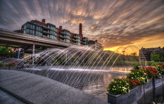Georgetown Waterfront Sunrise LE (D. Scott McLeod) Tags: longexposure fountain sunrise washingtondc dc districtofcolumbia nikon colorful georgetown hdr scottmcleod dramaticclouds georgetownwaterfront nikond800 dscottmcleod