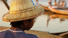 Over there (AccidentalAccent) Tags: wood bridge sunset people lake water hat river boats boat wooden native burma bein myanmar local tradition amarapura ubein taungthaman 2013