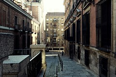 Dark Alley pt. II (catarinae) Tags: madrid life city windows two people espaa dog buildings dark person spain alley capital gritty spanien edgy