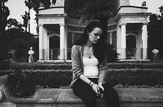 portrait in villa giulia (gorbot.) Tags: park portrait blackandwhite rangefinder roberta villagiulia mmount leicam8 silverefex voigtlander28mmultronf19 vscofilm
