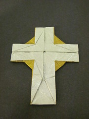 Celtic Cross (D. Abbey) (Helyades) Tags: celtic cross croix celtique abbey carr square origami pli pliage fold papier paper tissue soie