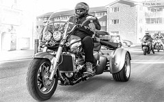 Bikers ride into West Bay (jerry_lake) Tags: d610 dorset nikcollection oct2016 trike triumph westbaytrip motorbike silverefexpro2