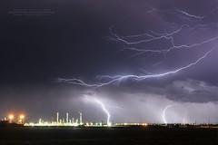 Human light vs lightnings strikes (shlina7) Tags: night nuit lightningstrike storms coupdefoudre foudre clair industrie industry crawler