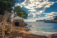 Majorca, Spain - House by the Blue Cove (IP Maesstro) Tags: majorca mallorka spain beach house sea water summer clouds sand vacation mediteran europe hdr ipmaesstro