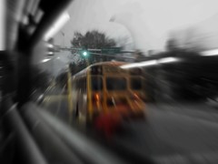 road to knowledge (~nevikk~) Tags: yellow schoolbus reflections kevinkelly mtc windowshot bw selectcolor