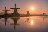 """Sunrise at the """"Zaanse Schans"""" (urbanexpl0rer) Tags: zaanseschans zaandam nederland holland sunrise molens mills windmill water waterreflections nature landscape"""