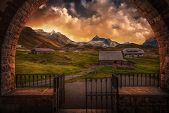 Open (Chrisnaton) Tags: switzerland tannalp landscape mountains alp sundown sunset eveningmood eveningcolors tannalpkapelle gate stonearch