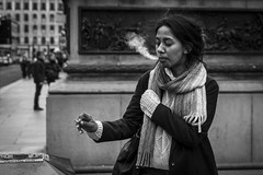 ...And Exhale (Leanne Boulton) Tags: people monochrome urban street candid portrait portraiture streetphotography candidstreetphotography candidportrait streetlife woman female girl face facial expression look emotion feeling atmosphere mood beauty smoke smoker smoking cigarette exhaling addiction nicotine tone texture detail gesture depthoffield natural outdoor light shade shadow city scene human life living humanity society culture canon 7d 50mm black white blackwhite bw mono blackandwhite glasgow scotland uk character