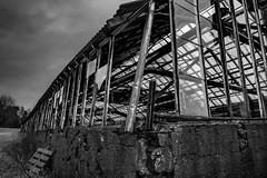 """Abandoned greenhouse framework"" (Terje Helberg Photography) Tags: forfall abandoned brokenglass clouds creepy decay greenhouse neglected old scary sky spooky unattended urbex bw bnw skeleton construction broken glass framework"