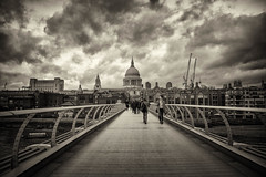 Novemeber (cuppyuppycake) Tags: november london st pauls cathedral outdoor uk england beudge millennium sky clouds dark black white bnw tourists
