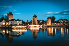 Les Ponts Couverts - Strasbourg (noberson) Tags: ponts couverts strasbourg france tower towers water reflection night blue hour city river longexposure