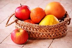 Basket of fruits (Zsofia Nagy) Tags: basket fruits orange apples apple grapefruit mandarine food tabletop red yellow colors color colourful flickrlounge weeklytheme