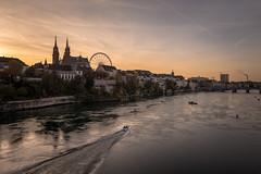 Basel (dam.he) Tags: leicaq kantonbaselstadt schweiz wetreflection reflection switzerland rhein river cantonofbaselstadt evening rhine basel