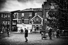 Deck The Halls... (h_cowell) Tags: christmas christmastree macclesfield cheshire uk panasonic gx7 street streetphotography mono monochrome blackandwhite candid people festive marketsquare nikefex