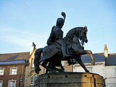 Durham, statue of the Marquis of Londonderry (rossendale2016) Tags: place market londonderry marquis horse man statue durham saddle leather replica lifesize life size soldier hoof hooves reins tall massive plinth charging sword weapon