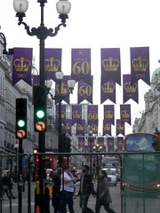 Celebrating queens 60 years coronation banners purple gold Regent Street London England 15th June 2013 republic 15-06-2013 17-34-31 (dennoir) Tags:
